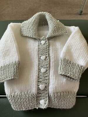 Hand Knitted Boys 0-3 Months Jacket, Hat and a Knitted Pair Of Type Hug Boot.