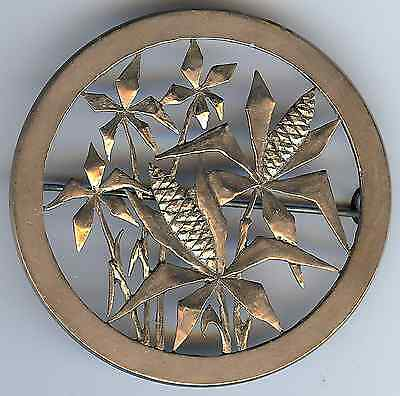 Vintage 1930'S Silver Cut Out Detailed Wheat Design Pin Brooch