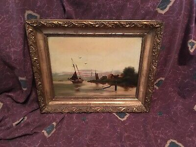 Antique ca 1920's Oil On Board Painting Safe Harbor Unsigned