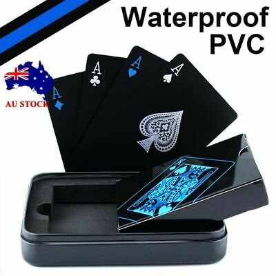 Black Waterproof PVC Poker Plastic Magic Table Game Club Playing Cards Set Gifts