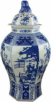 "Festcool 24"" Classic Blue and White Porcelain Figure Temple Ginger Jar Vase, Chi"