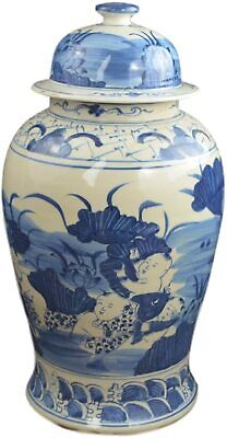 "19"" Antique Finish Blue and White Porcelain Children and Lotus Temple Ceramic..."