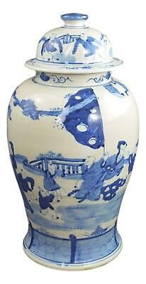 "19"" Antique Finish Blue and White Porcelain Children Play Temple Ceramic Jar ..."