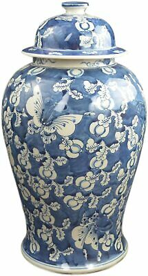 """19"""" Antique Finish Blue and White Porcelain Blue Butterfly Temple Ceramic Jar..."""