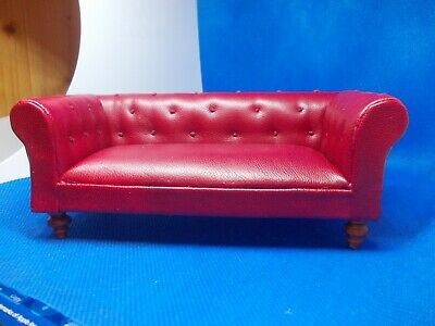 Classic Red Chesterfield Sofa For A Dolls House