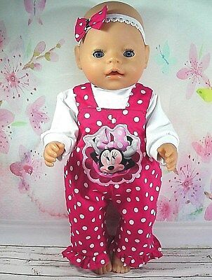 """Dolls clothes for17"""" Baby Born doll~ MINNIE MOUSE PINK/WHITE SPOT OVERALLS~H'BOW"""