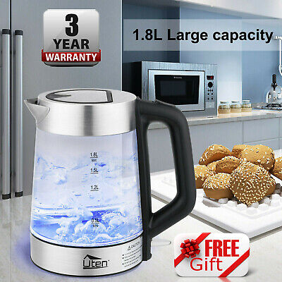 Cordless Glass Kettle Electric LED Illuminated Jug Rapid Boil Water Filter 1.8L