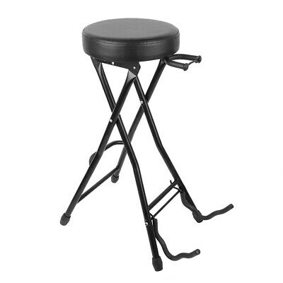Foldable Guitarist Guitar Dual Stool and Stand with Neck Support Guitar Holder