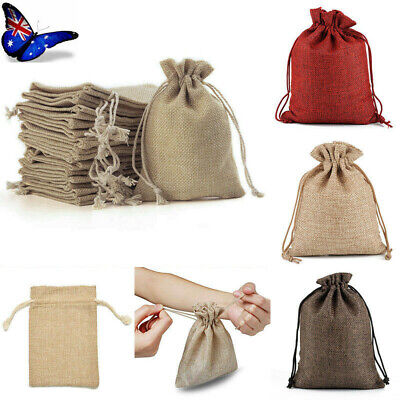 4Size 30x Small Bag Natural Linen Pouch Drawstring Burlap Jute Sack Jewelry Gift