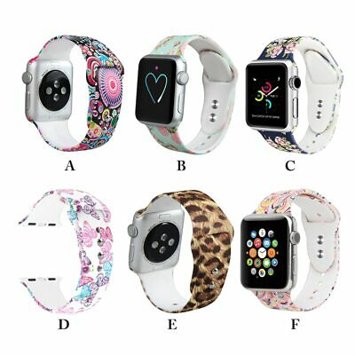 Silicone Prints Strap For Apple Watch 38/40mm 42/44mm Sport Band Series 4 3 2 1