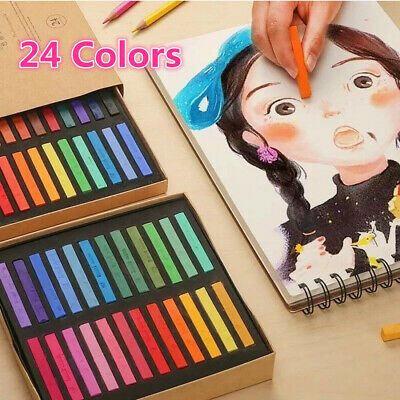 24 Color Soft Pastel Artist Colored Chalk Full Length Square Stick Students