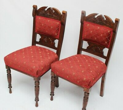 Pair of Vintage Carved Beech Dining Chairs - FREE Shipping [5339 B]