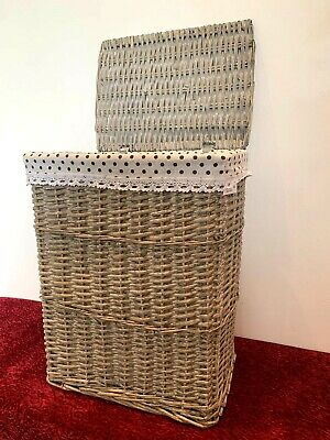 New Luxury Extra Large Grey Brown Laundry Basket With Lining And Lid