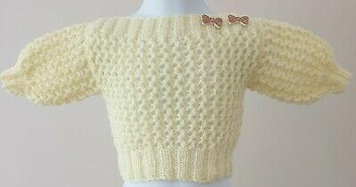 BRAND NEW - Hand Knitted Baby Girl Slash Neck Jumper  Age 0-6 Months Approx