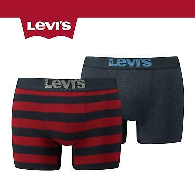 Levis 200SF 2 Pack Rugby Stripe Boxer Shorts Red/Navy