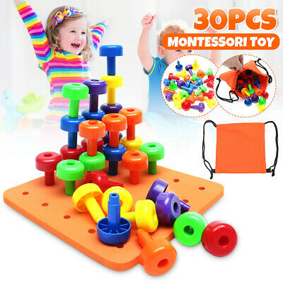 30PCS Peg Board Set Montessori Educational Fine Motor Toy for Toddlers Pegboard