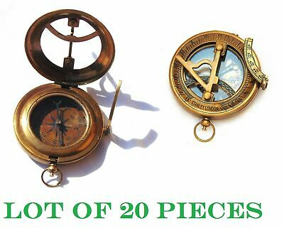 Nautical Antique Brass Marine Stanley Pocket Sundial Compass Lot of 20 pc