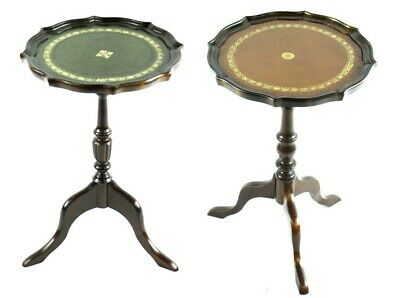 Pair of Antique Georgian Style Mahogany Leather Top Wine Tables [4889 & 4890]