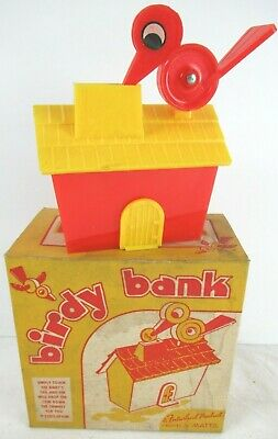 Vintage 1940'S Futurland Plastic Birdy Bank By Mattel In Box! Old Store Stock