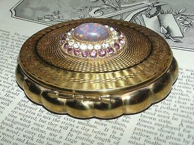 Vintage 1930s FOILED FIRE GLASS OPAL DRAGONS BREATH VANITY COMPACT (J275)