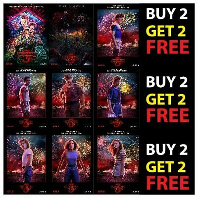 STRANGER THINGS SEASON 3 TV SHOW POSTERS ART DECOR A4 A3 - 300gsm Paper/Card