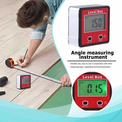 4*90°Digital Inclinometer Level Box Protractor Angle Finder Bevel Gauge Magnet Q