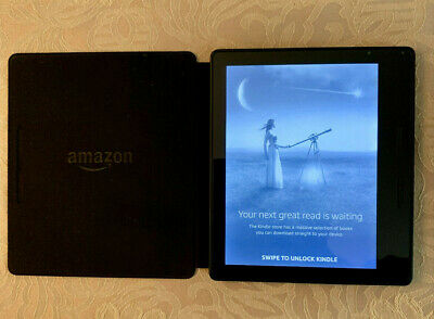 Kindle Oasis 8th Gen bundle with Leather Charging Cover, Wi-Fi, Black