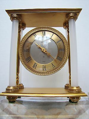 Vintage Swiss Angelus Gilt Bronze 4-Column 8-Day Desk Clock