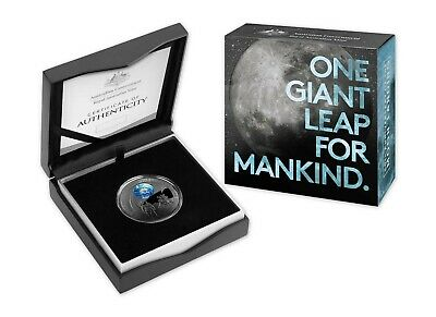 2019 50th Anniversary Moon Landing $5 Nickel Plated Silver Proof Domed Coin