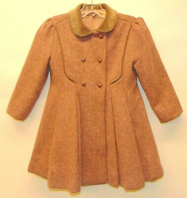 Vintage Rothschild Girls Wool Dress Coat size 6 Mauve / Gray