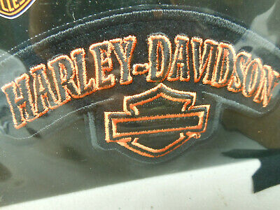 "Genuine Harley Davidson Motorcycles Patch Bar & Shield Black Orange 5"" Wide"