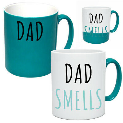 Funny Dad Smells Heat Changing Mug Gift Birthday Father Present Joke Rude Cup