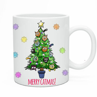Funny Novelty Merry Catmas Mug Funny Birthday Gift Present Humour Joke Idea