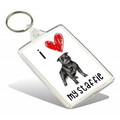 I Love My Staffie Keyring
