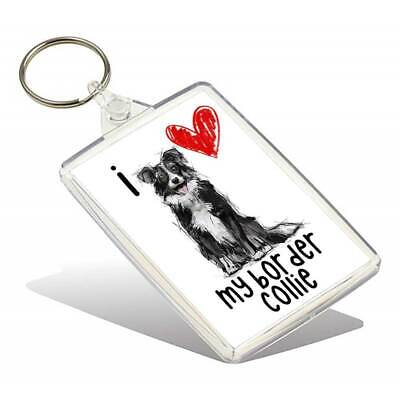 I Love My Border Collie Keyring
