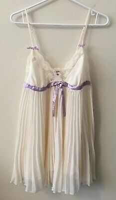La Vie En Rose Size L Ivory Silk Lace Bridal Wedding Bride Babydoll Lingerie
