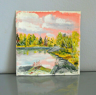 Scandinavian Lake Landscape Original Oil Painting Signed Finland Pink lakeview