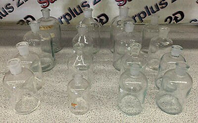 Lot of 16 Pyrex Assorted Glass Lab Bottles