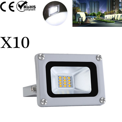 10 X 10W LED SMD Floodlight Outside Wall Light Security Flood Lights Cool white