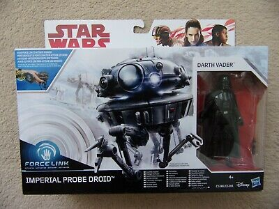 "Star Wars Imperial Probe Droid & Darth Vader 3 3/4"" Figure Force Link New Sealed"