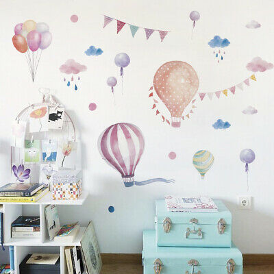Colorful Hot Air Balloons Wall Stickers Girls Kids Nursery Child Room Art Decals