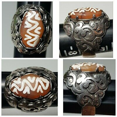 Ancient burma eched agate bead fit on sterling 925 pure silver ring