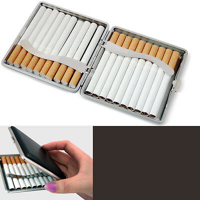 Classic Leather &Alloy Cigarette Case Box Metal Holder Container for Lighter  Au