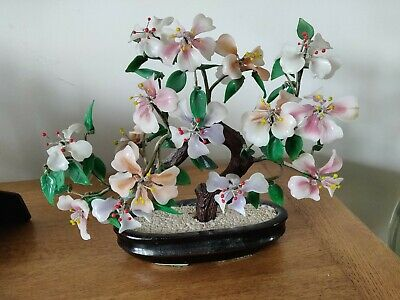 Vintage Wire Bonsai Tree with Cherry Blossom Flowers Pink Glass Ceramic