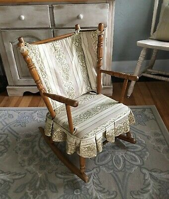 Vintage Wood Rocking Chair Child Kid's Size Upholstered Country Home Decor
