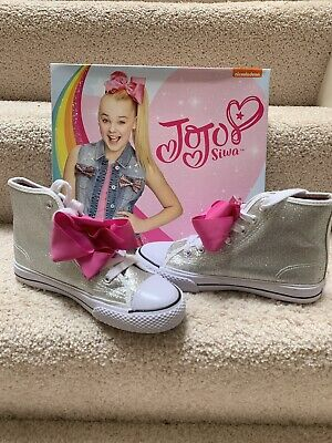 BRAND NEW JoJo SIWA Legacy High-Top Silver-Glitter Shoes//Sneakers w// Pink Bow