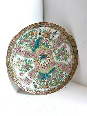 Antique Rose Famille Chinese Cantonese Export Porcelain Plate Hand Painted Qing