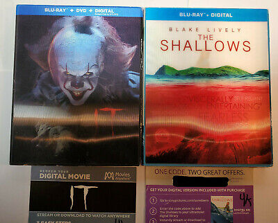 IT + The Shallows Blu-ray+DVD+OOP Lenticular Slip Covers WITH 4K DIGITAL COPIES!