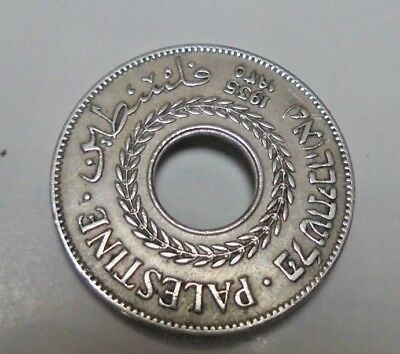 Palestine 5 Mils 1935 Silver Coin Coin with hole in centre