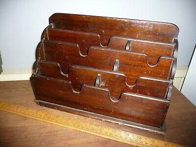 Antique desk top letter rack.c.1930s letter rack with sub divided compartments